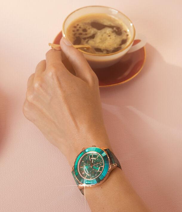 watch, swarovski, crystal, crystalline, green