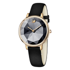 ساعة Crystal Lake، بحزام جلدي، سوداء، بلون ذهب وردي