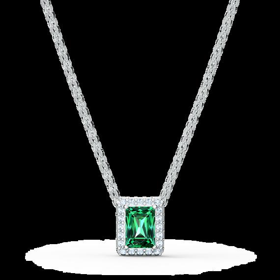 قلادة Angelic مستطيلة، لون أخضر، طلاء روديوم