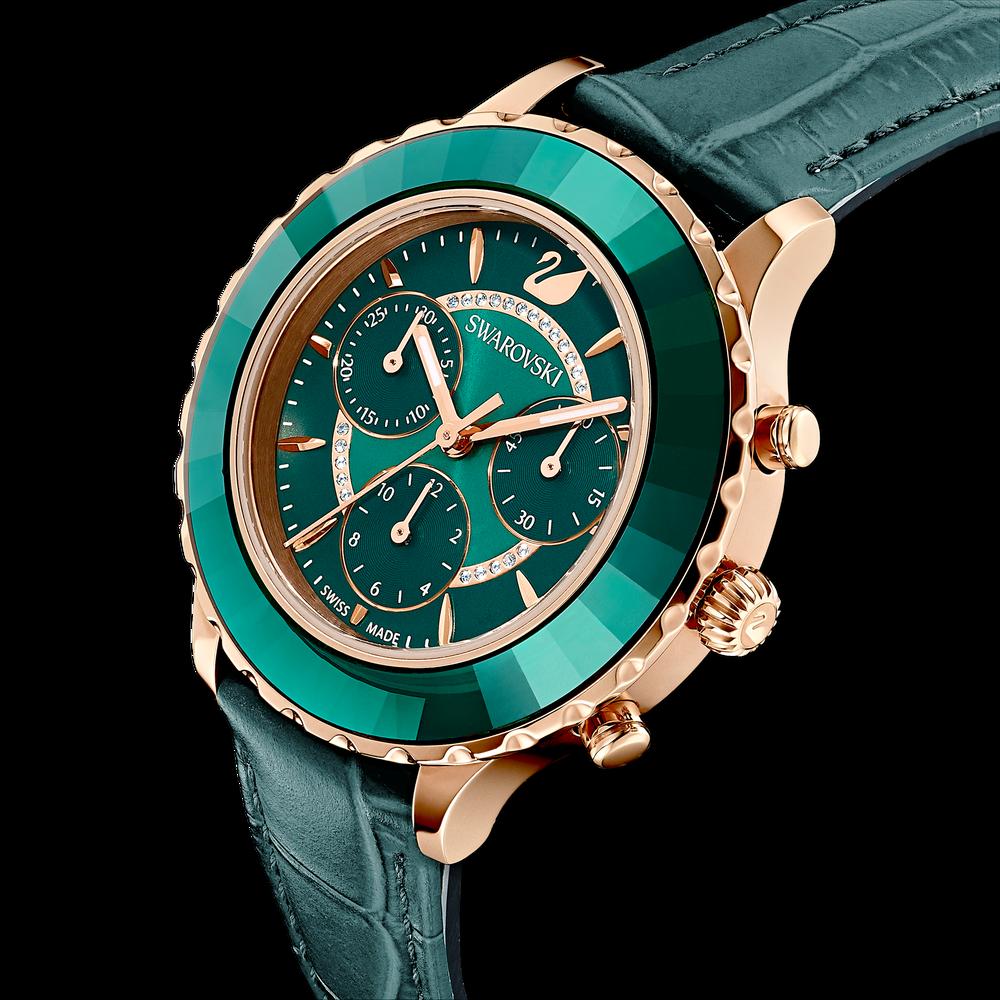 ساعة Octea Lux Chrono، حزام جلدي، خضراء، بلون ذهب وردي