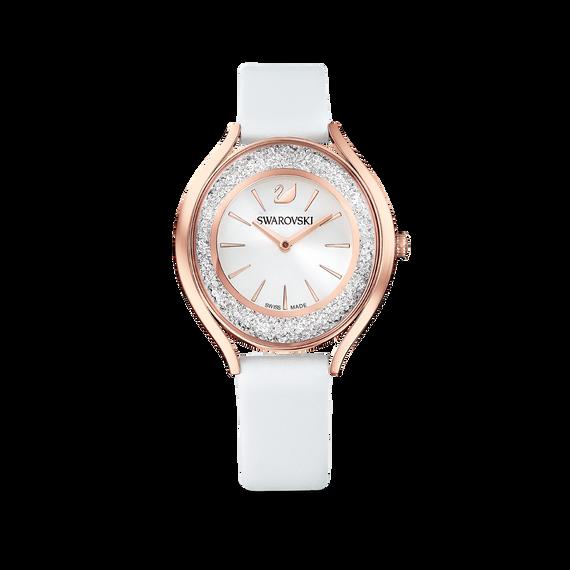 ساعة Crystalline Aura،بحزام جلد أبيض، باللون الذهبي الوردي، ومطلي بمادة بي في دي (الترسيب الفيزيائي للبخار)