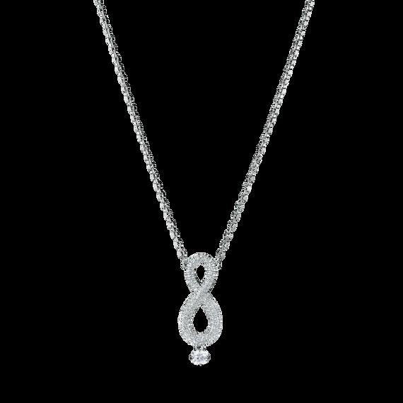 سلسلة Swarovski Inifinity، بيضاء اللون، طلاء الروديوم