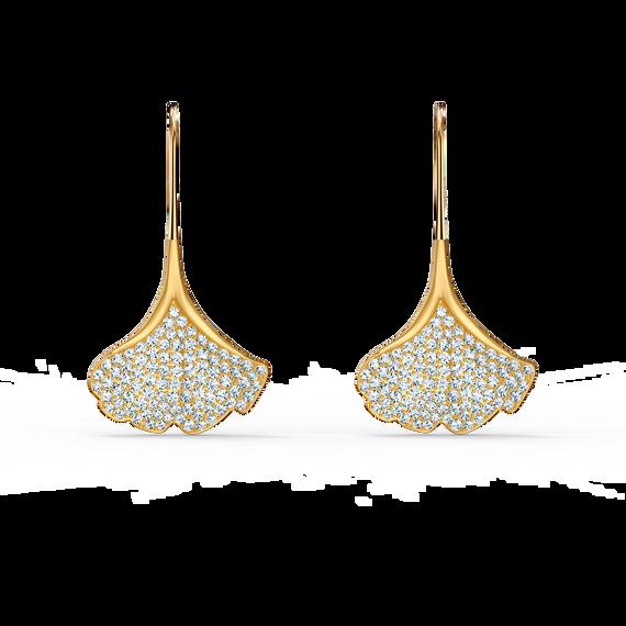 أقراط Stunning Ginko للأذن المثقوبة، بيضاء اللون، مطلية باللون الذهبي