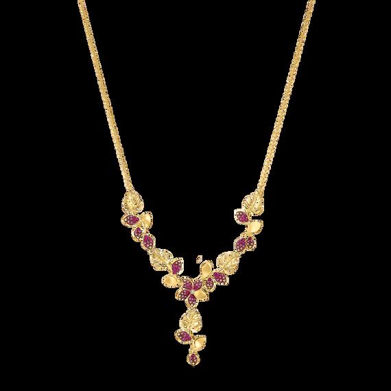 سلسة زهور Tropical على شكل حرف Y، وردية اللون، مطلية باللون الذهبي