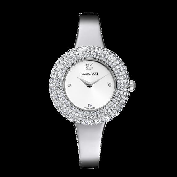 ساعة Crystal Rose، سوار معدني، أبيض، ستانلس ستيل