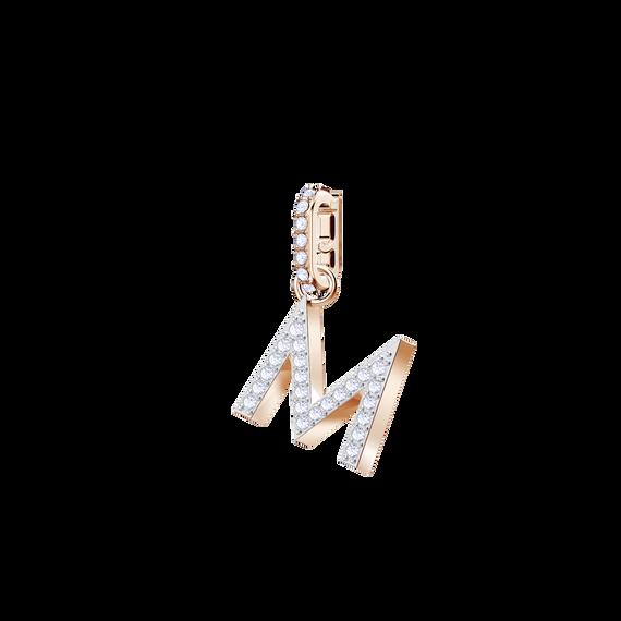 دلاية حرف M من مجموعة Swarovski Remix Collection، بيضاء، بطلاء ذهب وردي