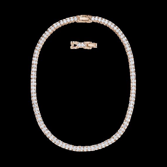 عقد Tennis Deluxe ، أبيض ، مطلي باللون الذهبي الوردي