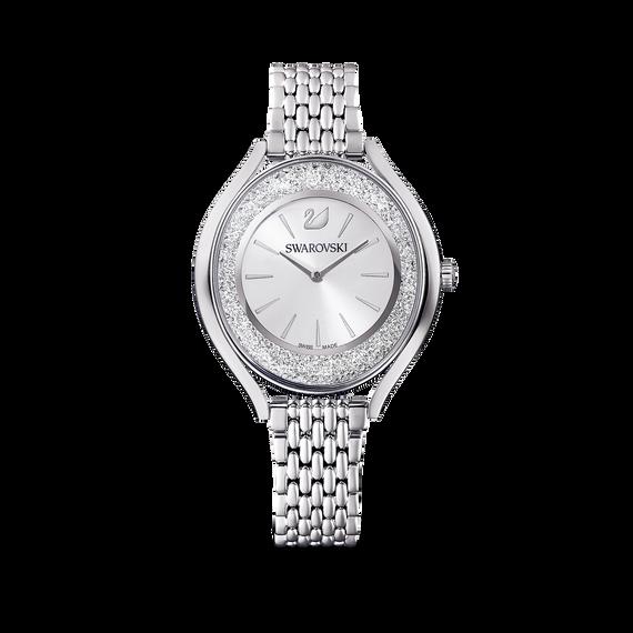 ساعة Crystalline Aura،  بسوار معدني ذهبي فضي، مصنوع من الإستانليس ستيل