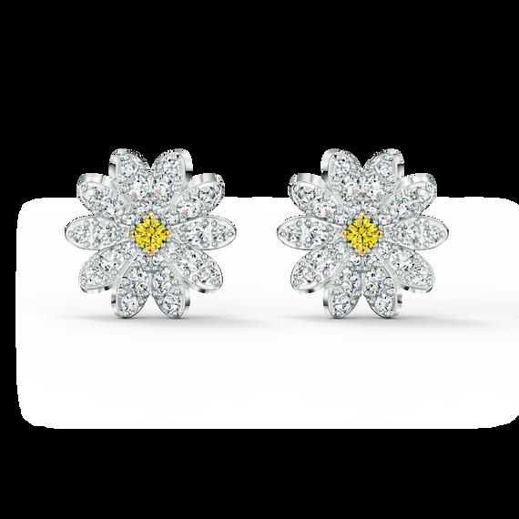 أقراط Eternal Flower للأذن المثقوبة، صفراء اللون مع طبقة خارجية معدنية مختلطة