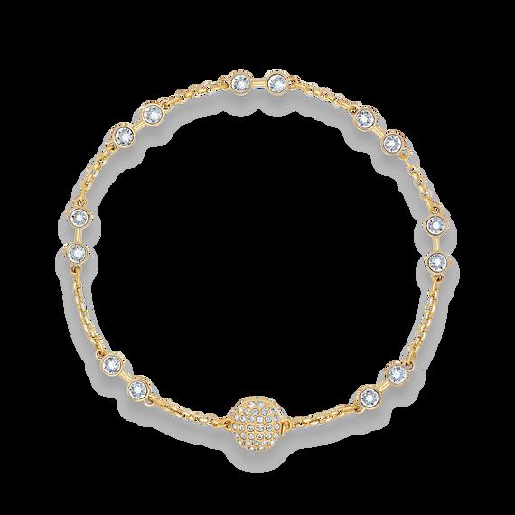 سوار حامل من مجموعة Swarovski Remix، أبيض اللون، مطلي باللون الذهبي