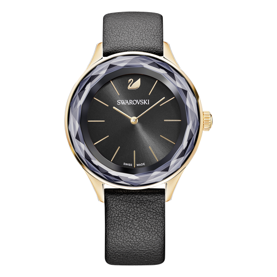 ساعة Octea Nova، لون أسود، طلاء ذهبي وردي