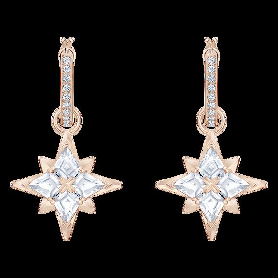 أقراط الأذن المثقوبة Symbolic من سواروفسكي على شكل النجوم ، أبيض ، مطلية باللون الذهبي الوردي