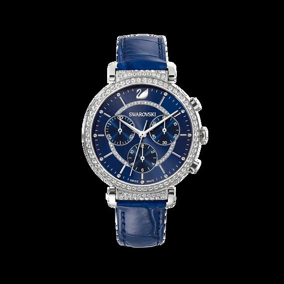 ساعة Passage Chrono، حزام جلد، لون أزرق، ستانلس ستيل