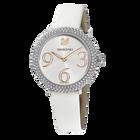 ساعة Crystal Frost ، حزام جلدي ، أبيض ، بلون ذهبي وردي PVD