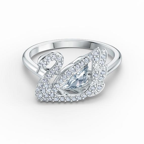 خاتم Dancing Swan، أبيض اللون، مطلي بالروديوم