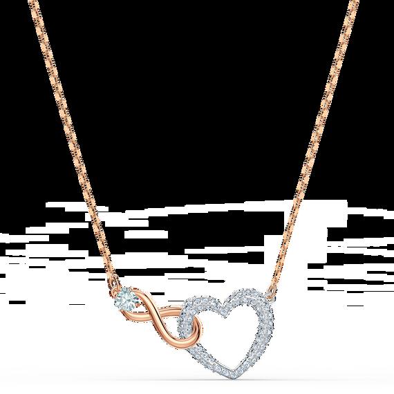 عقد Swarovski Inifinity على شكل قلب، لون أبيض، لمسة نهائية من معادن مختلطة