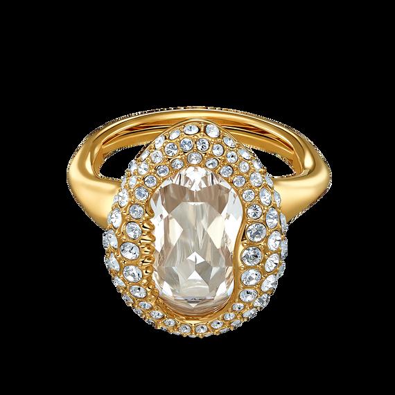 خاتم Shell، أبيض اللون، مطلي باللون الذهبي