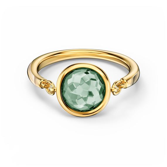 خاتم Tahlia، لون أخضر، طلاء ذهبي وردي