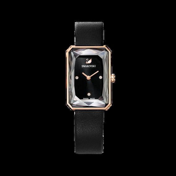 ساعة Uptown، حزام جلد، لون أسود، طلاء PVD ذهبي وردي