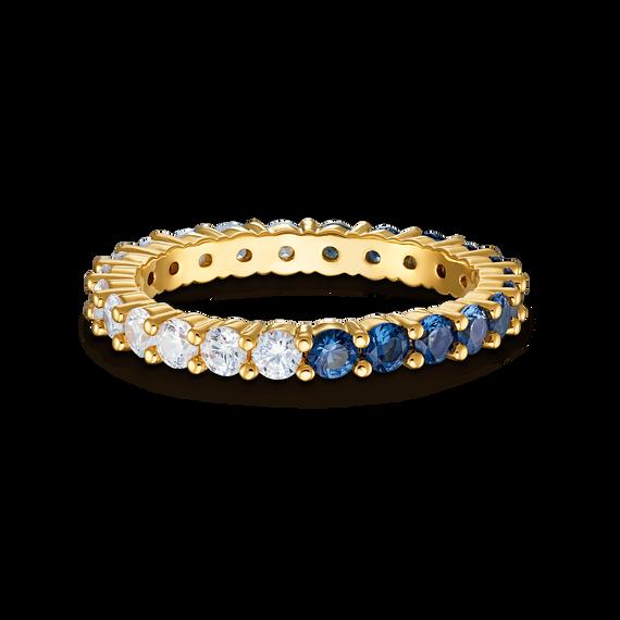خاتم Vittore المنقسم إلى نصفين XL، لون أزرق، طلاء باللون الذهبي