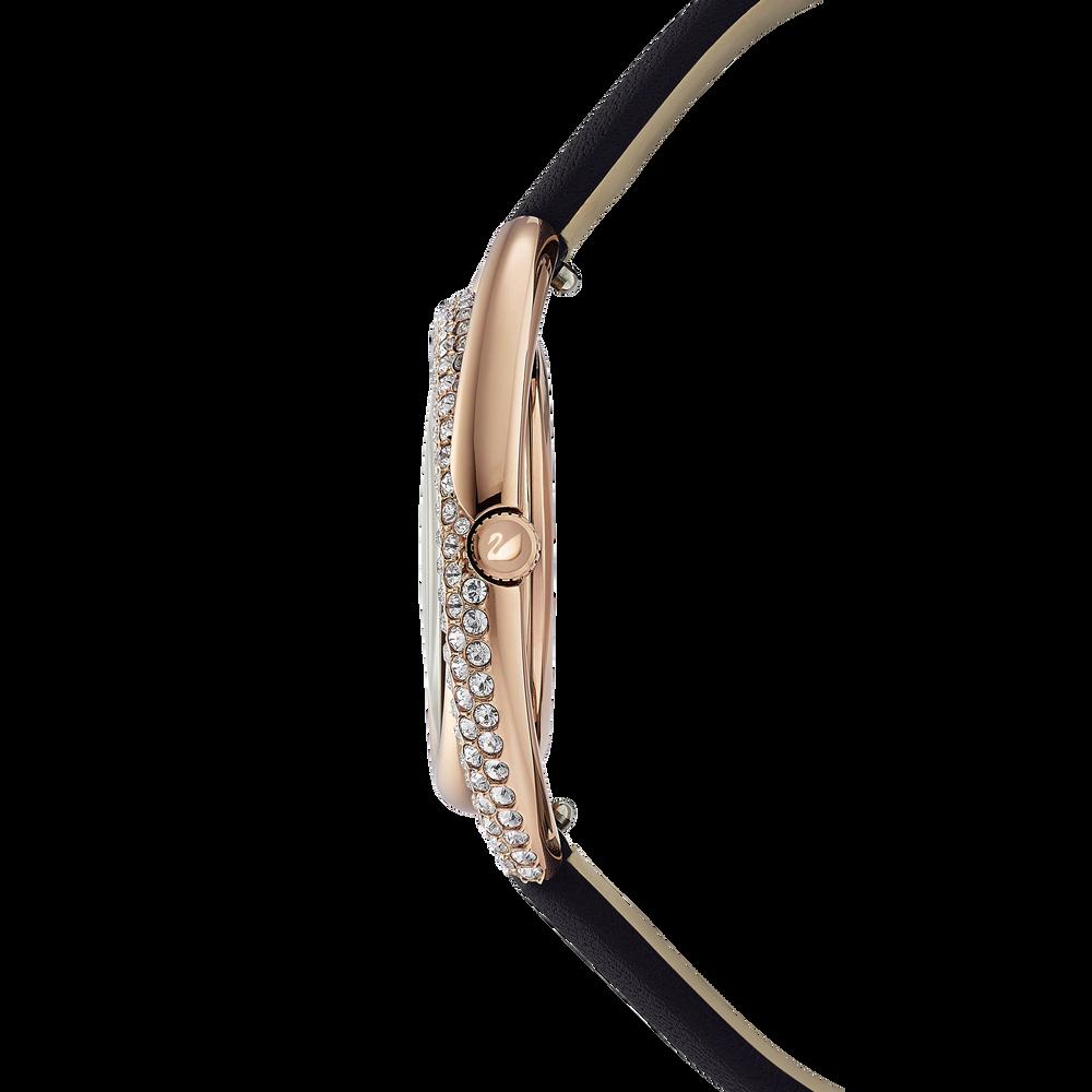 ساعة Duo  ، حزام جلدي ، أسود ، بلون ذهبي وردي PVD