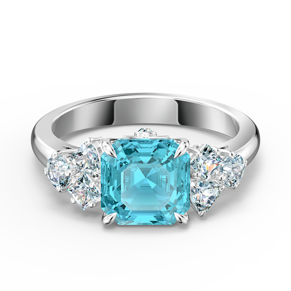 خاتم Sparkling، ذو لون أزرق مائي، مطلي بالروديوم