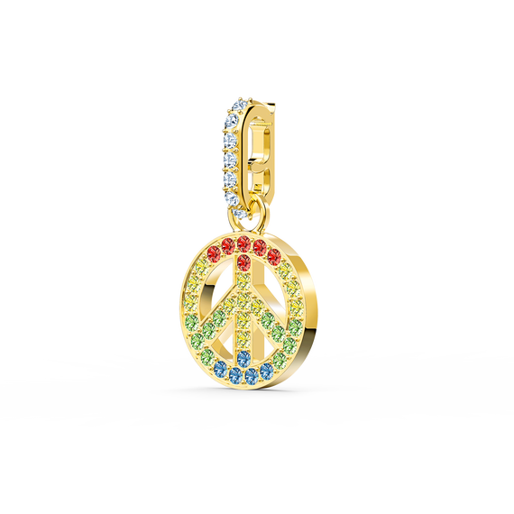 تميمة السلام من مجموعة Swarovski Remix، متعدد الألوان الفاتحة، مطلي باللون الذهبي
