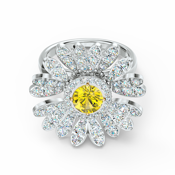 خاتم Eternal Flower أصفر اللون مع طبقة خارجية معدنية مختلطة