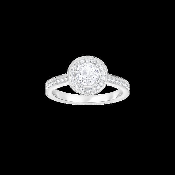 خاتم Attract Light دائري، أبيض، بطلاء من الروديوم