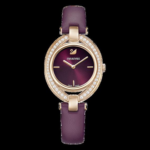 ساعة Stella، بحزام جلدي، حمراء داكنة، بلون ذهب وردي