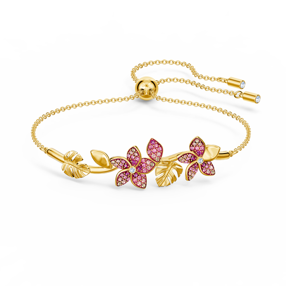 سوار زهور Tropical، وردي اللون، مطلي باللون الذهبي