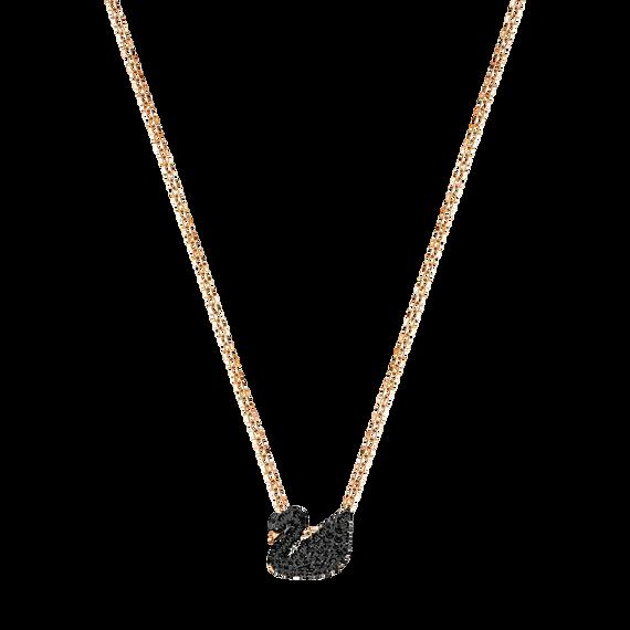 قلادة Iconic Swan بحلية متدلية صغيرة، لون أسود، طلاء ذهبي وردي