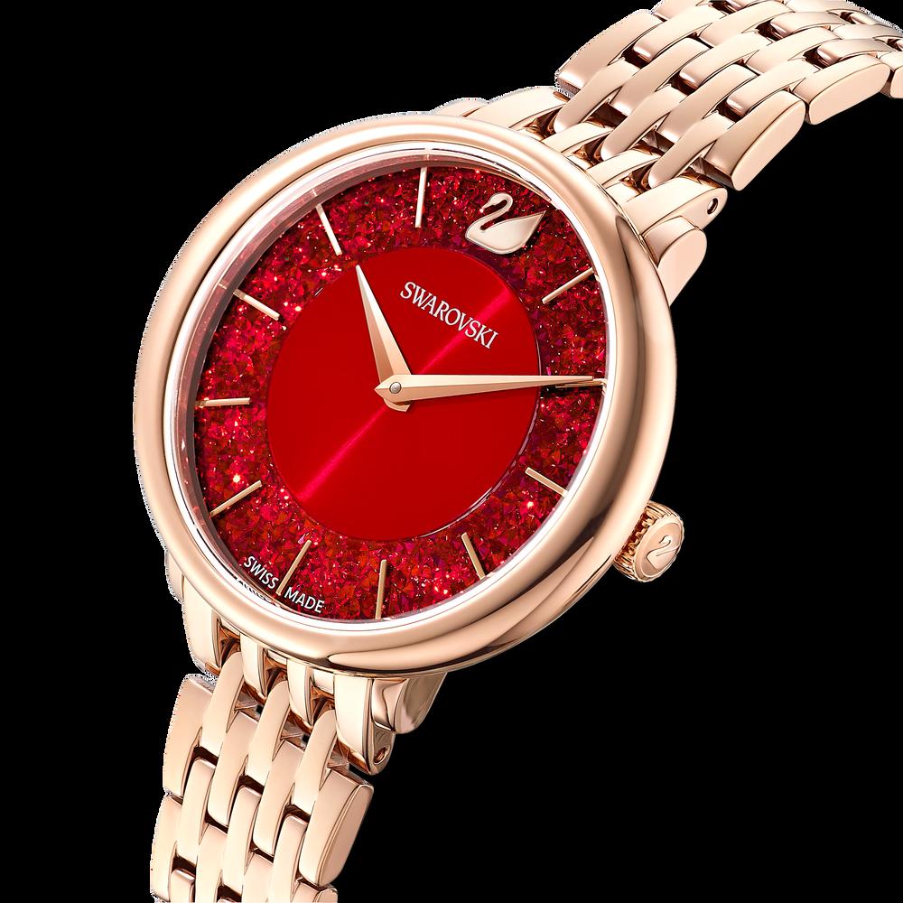 ساعة Crystalline Chic، سوار معدني، لون أحمر، طلاء ذهبي وردي بتقنية PVD
