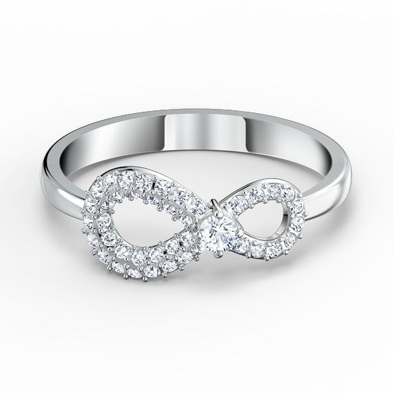 خاتم Swarovski Inifinity، أبيض اللون، مطلي بالروديوم