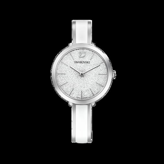 ساعة Crystalline Delight، سوار معدني، أبيض، ستانلس ستيل