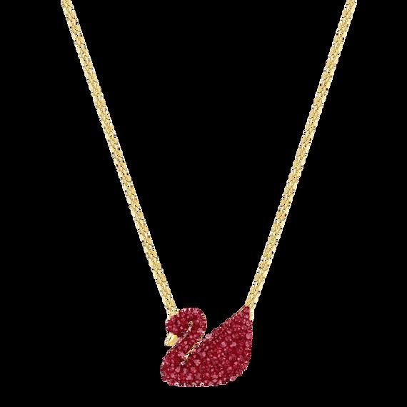 قلادة Iconic Swan بحلية متدلية، لون أحمر، طلاء ذهبي