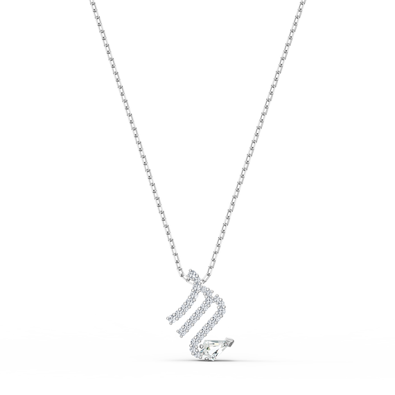 حلية متدلية Zodiac II، برج العقرب، لون أبيض، لمسة نهائية من معادن مختلطة