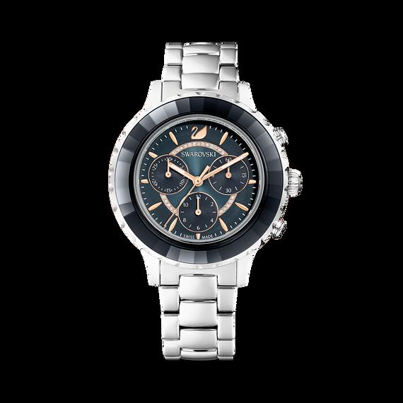 ساعة Octea Lux Chrono، سوار معدني، لون أسود وفضي