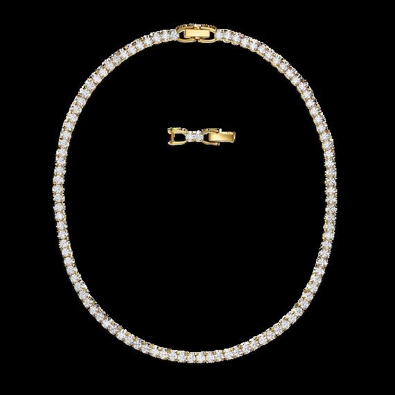 سلسلة الفاخرةTennis Deluxe بيضاء اللون، مطلية باللون الذهبي