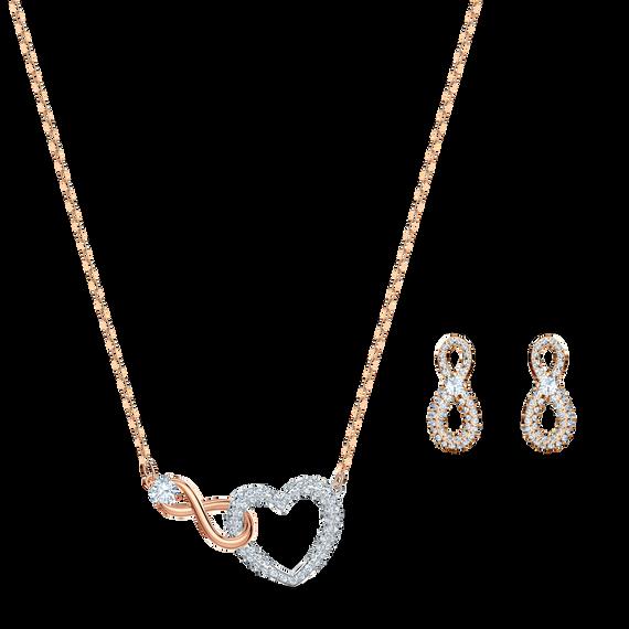 طقم Swarovski Inifinity على شكل قلب، لون أبيض، لمسة نهائية من معادن مختلطة