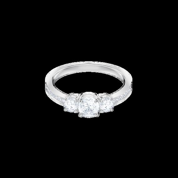 خاتم Attract Trilogy دائري، أبيض، بطلاء من الروديوم