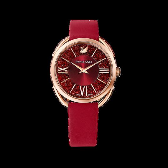 ساعة Crystalline Glam، بحزام جلد أحمر، باللون الذهبي الوردي، ومطلي بمادة بي في دي (الترسيب الفيزيائي للبخار)