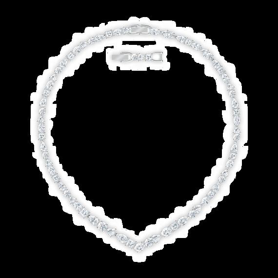 قلادة Tennis Deluxe على شكل V، لون أبيض، طلاء روديوم
