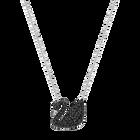 تعليقة Iconic Swan، سوداء، بطلاء من الروديوم