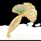 بروش Stunning Ginko، أخضر اللون، مطلي باللون الذهبي