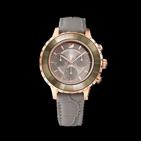 ساعة Octea Lux Chrono، حزام جلد، لون رمادي، طلاء ذهبي وردي