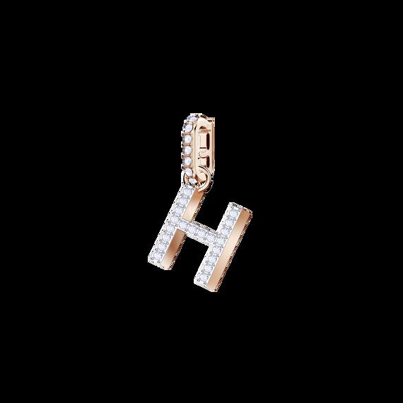 دلاية حرف H من مجموعةSwarovski Remix Collection ، بيضاء، بطلاء ذهب وردي