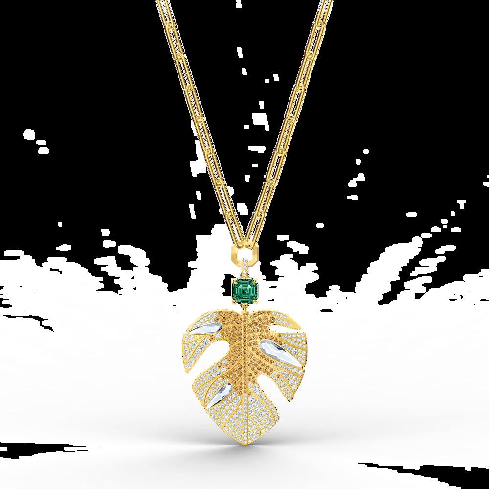 تعليقة على شكل ورقة شجر Tropical، متعددة الألوان الفاتحة، مطلية باللون الذهبي