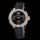 ساعة Crystal Frost ، حزام جلدي ، أسود ، بلون ذهبي وردي PVD