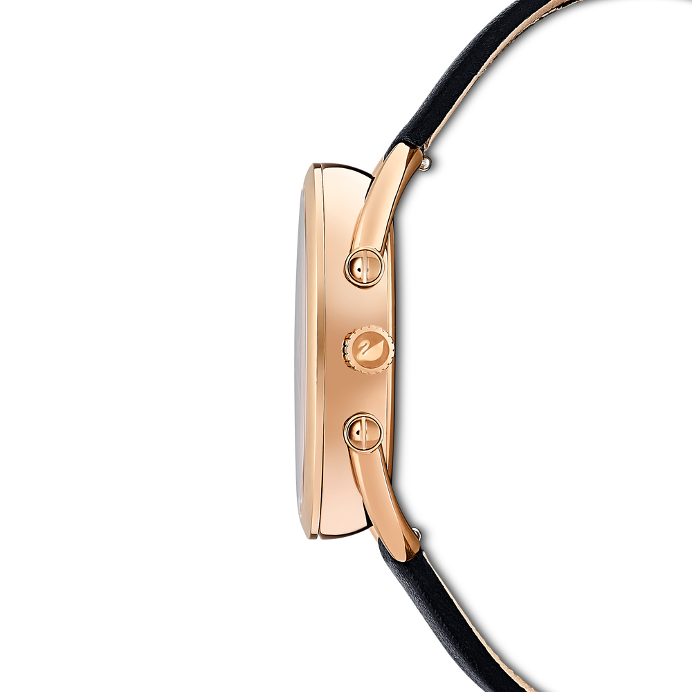 ساعة Crystalline Glam، حزام جلدي، سوداء، بلون ذهب وردي